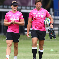 Michael Claassens with Franco Marais during the cell c sharks training session at  Growthpoint Kings Park 13,02,2018 Photo by Steve Haag)