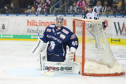 01.03.2019, O2 World, Berlin, GER, DEL, Eisbaeren Berlin vs Koelner Haie, 52. Runde, im Bild Kevin Poulin - Eisbaeren // during the DEL 52th round match between Eisbaeren Berlin and Koelner Haie at the O2 World in Berlin, Germany on 2019/03/01. EXPA Pictures © 2019, PhotoCredit: EXPA/ Eibner-Pressefoto/ Uwe Koch<br /> <br /> *****ATTENTION - OUT of GER*****
