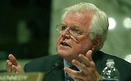 Senator Edward Kennedy asks a question during the Senate Judiciary Committee in Washington, DC of September 13, 2005 on his nomination to be the Chief Justice of the Supreme Court. Photograph: Dennis Brack