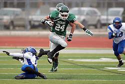 15 November 2014:  Austin Harrell during an NCAA division 3 football game between the North Park Vikingsand the Illinois Wesleyan Titans in Tucci Stadium on Wilder Field, Bloomington IL