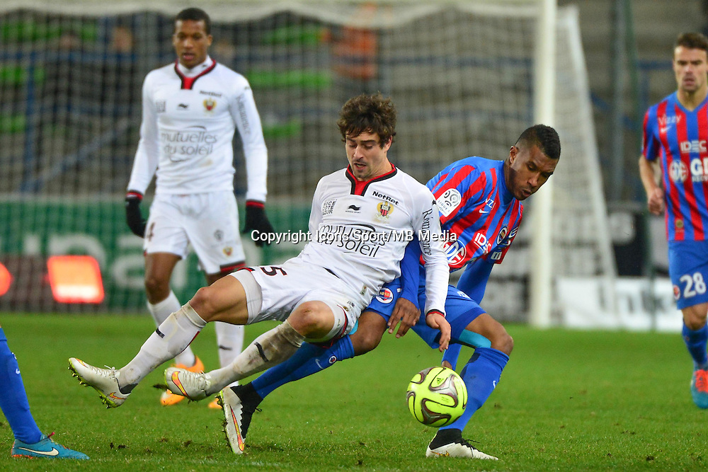 Gregoire PUEL / Emmanuel IMOROU - 05.12.2014 - Caen / Nice - 17eme journee de Ligue 1 -<br />Photo : Dave Winter / Icon Sport