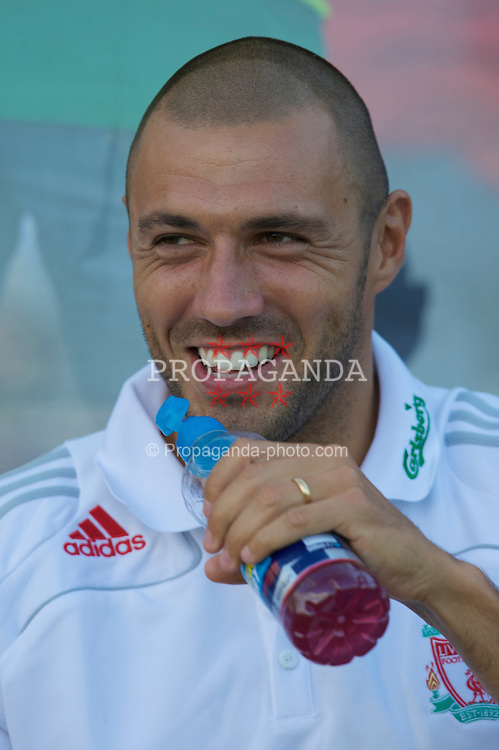 GRENCHEN, SWITZERLAND - Wednesday, July 16, 2008: Liverpool's Andrea Dossena before a pre-season friendly at Stadion Bruhl. (Photo by David Rawcliffe/Propaganda)