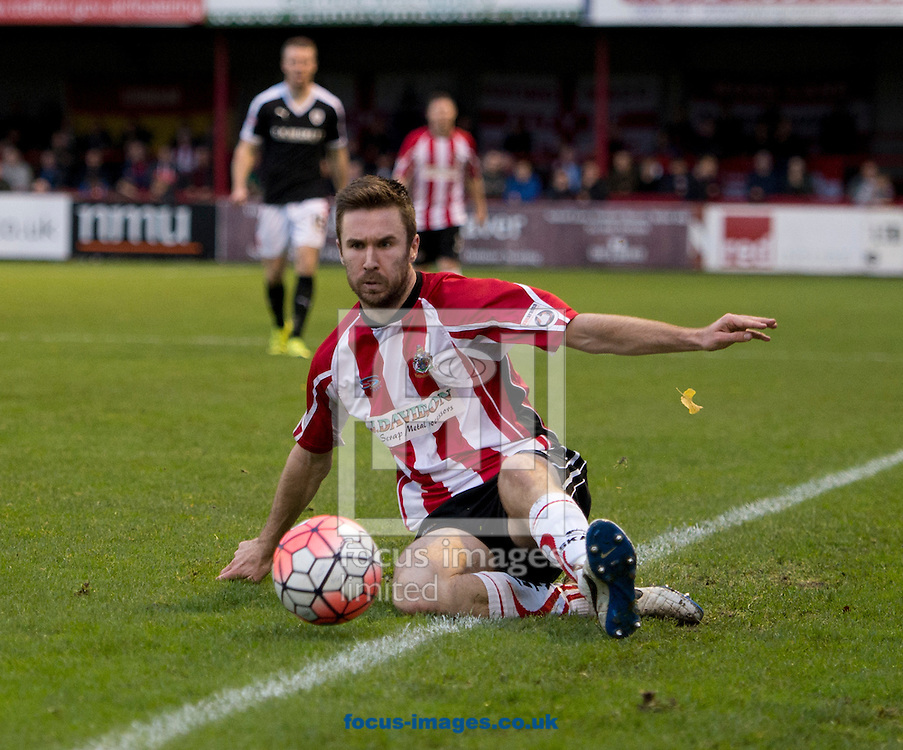 Josh O'Keefe of Altrincham manages to keep the ball in play during the FA Cup match at Moss Lane, Altrincham<br /> Picture by Russell Hart/Focus Images Ltd 07791 688 420<br /> 07/11/2015