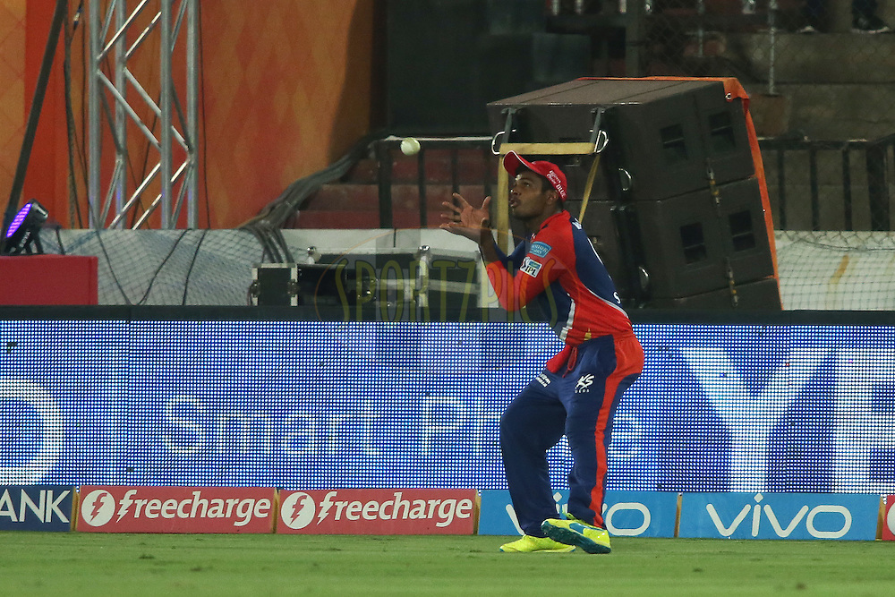 Sanju Samson of Delhi Daredevils gets under the ball to take the catch to get Naman Ojha of Sunrisers Hyderabad wicket during match 42 of the Vivo IPL 2016 (Indian Premier League) between the Sunrisers Hyderabad and the Delhi Daredevils held at the Rajiv Gandhi Intl. Cricket Stadium, Hyderabad on the 12th May 2016<br /> <br /> Photo by Shaun Roy / IPL/ SPORTZPICS