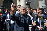 Rome may 7th 2015, leader of Movimento 5 Stelle speaks to journalist during a demo at Montecitorio Square. In the picture Beppe Grillo - © PIERPAOLO SCAVUZZO