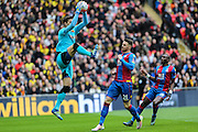 Watford's Costel Pantilimon collects the ball during the The FA Cup match between Crystal Palace and Watford at Wembley Stadium, London, England on 24 April 2016. Photo by Shane Healey.