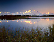 USA, Alaska, Denali NP, Denali (Mt McKinley) reflected in a pond at sunrise
