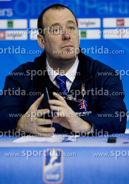 Head coach of Great Britain Paul Thompson at press conference after the IIHF Ice-hockey World Championships Division I Group B match between National teams of Croatia and Great Britain, on April 17, 2010, in Tivoli hall, Ljubljana, Slovenia. (Photo by Vid Ponikvar / Sportida)