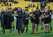 Dejected New Zealand players. All Black's v South Africa, Rugby Championship, Westpac Stadium, Wellington, New Zealand. Saturday, 27 July, 2019. Copyright photo: John Cowpland / www.photosport.nz