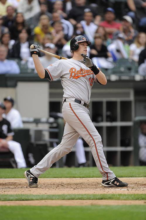 CHICAGO - JULY 18:  Matt Wieters #15 of the Baltimore Orioles bats against the Chicago White Sox on July 18, 2009 at U.S. Cellular Field in Chicago, Illinois.  The White Sox defeated the Orioles 4-3.  (Photo by Ron Vesely)