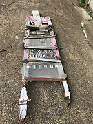 "Outdoor sign –""work site "" marker- pink and plastic with wood and glued items 9ft tall by 2 ft wide<br />