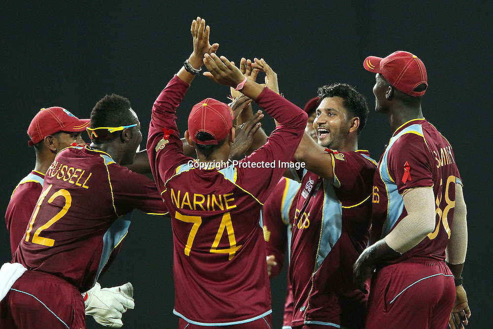 Ravi Rampaul of The West Indies celebrates the wicket of Cameron White during the ICC World Twenty20 semi final match between Australia and The West Indies held at the Premadasa Stadium in Colombo, Sri Lanka on the 5th October 2012<br /> <br /> Photo by Ron Gaunt/SPORTZPICS