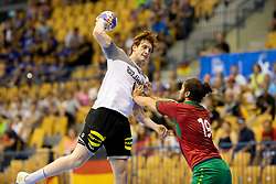 Lukas Stutzke of Germany and Luis Frade of Portugal during handball match between National teams of Germany and Portugal in game for Third place of 2018 EHF U20 Men's European Championship, on July 29, 2018 in Arena Zlatorog, Celje, Slovenia. Photo by Urban Urbanc / Sportida