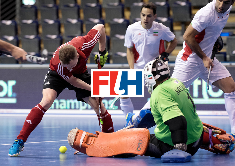 BERLIN - Indoor Hockey World Cup<br /> Men: Iran - Russia<br /> foto: KHAIRULLIN Marat and HATAMINEJAD Sasan (GK).<br /> WORLDSPORTPICS COPYRIGHT FRANK UIJLENBROEK
