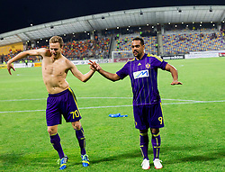 Ales Mertelj #70 of Maribor and Marcos Tavares #9 of Maribor celebrate after the football match between NK Maribor and APOEL FC, (Cyprus) in Third qualifying round, Second leg of UEFA Champions League 2014, on August 6, 2013 in Stadium Ljudski vrt, Maribor, Slovenia. (Photo by Vid Ponikvar / Sportida.com)