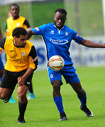 MOSES OLALEYE AFC DUNSTABLE,  BATTLE WITH MARLOW JORDACE HOLDER- SPOONER, AFC Dunstable v Marlow FC Evo Stick League South East, Saturday 9th September 2017<br /> Score 2-1:Photo:Mike Capps