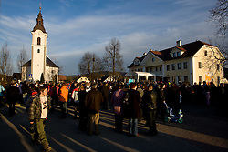 Church and square in Dol pri Ljubljani at reception of Slovenian bronze medalist cross-country skier Petra Majdic at her home town Dol pri Ljubljani after she came from Vancouver after Winter Olympic games 2010, on March 1, 2010 in Dol pri Ljubljani, Slovenia. (Photo by Vid Ponikvar / Sportida)