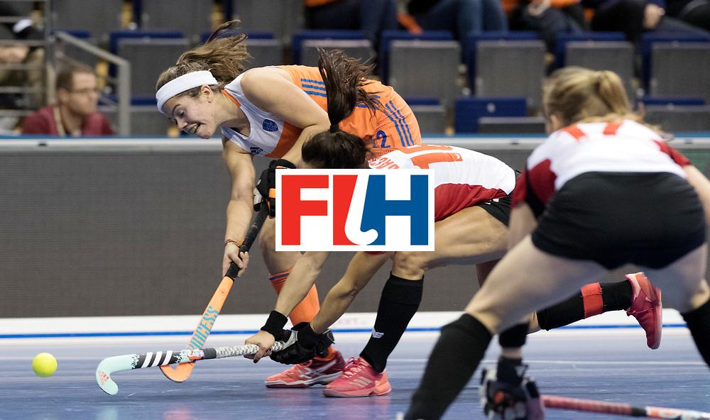 BERLIN - Indoor Hockey World Cup<br /> Women: Poland - Netherlands<br /> foto: Noor de Baat and Marlene Rybacha.<br /> WORLDSPORTPICS COPYRIGHT FRANK UIJLENBROEK