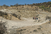 Frida Leakey Korongo site in Oldupai Gorge, Tanzania, where Marey leaky forund remains of Paranthropus boisei in 1959