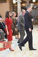 King Felipe VI of Spain, Queen Letizia of Spain, King Juan Carlos of Spain, Queen Sofia of Spain attend National Sport Awards 2017 at El Pardo Royal Palace on January 10, 2019 in Madrid, Spain