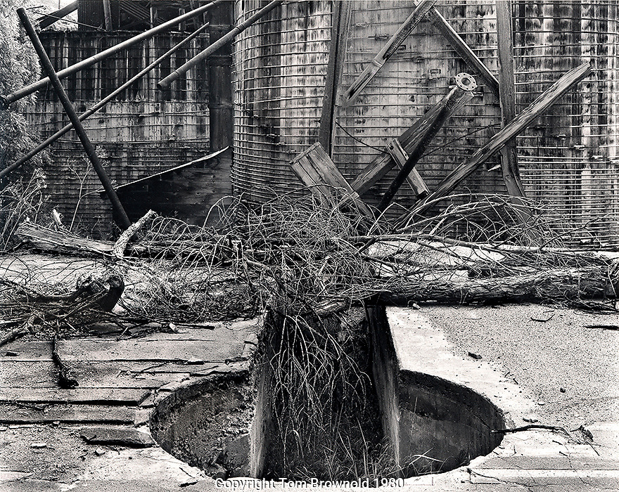 Water tower foundations and decay.  8X10 contact print