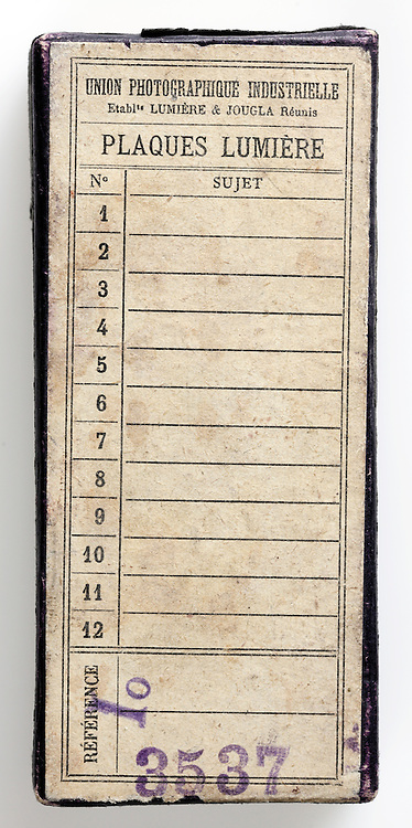 old photography glass plates box back side with recording images list