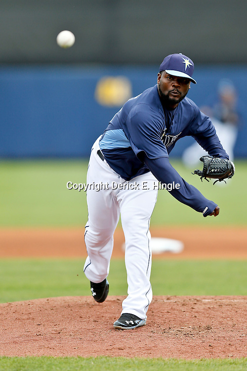 Mar 2, 2013; Port Charlotte, FL, USA; Tampa Bay Rays relief pitcher Fernando Rodney (56) during a spring training game against the Baltimore Orioles at Charlotte Sports Park. Mandatory Credit: Derick E. Hingle-USA TODAY Sports