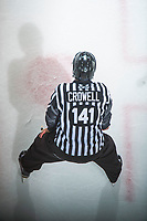 KELOWNA, CANADA - SEPTEMBER 29:  Linesman Kevin Crowell stands at the face off at the Kelowna Rockets against the Everett Silvertips on September 29, 2017 at Prospera Place in Kelowna, British Columbia, Canada.  (Photo by Marissa Baecker/Shoot the Breeze)  *** Local Caption ***
