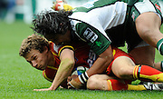 Reading, GREAT BRITAIN, Exiles, Seilosi MAPUSUA, catches Chris CUSITER, during the Heineken, Quarter Final, Cup rugby match,  London Irish vs Perpignan, at the Madejski Stadium on Sat 05.04.2008 [Photo, Peter Spurrier/Intersport-images]