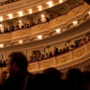November 17, 2012 - New York, NY : Concertgoers listen as Sir John Eliot Gardiner (not visible) leads the Orchestre Révolutionnaire et Romantique and The Monteverdi Choir (not visible) in a performance of Beethoven's 'Missa solemnis' at Carnegie Hall's  Stern auditorium / Perelman Stage in Manhattan on Saturday night. CREDIT: Karsten Moran for The New York Times
