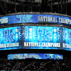 Apr 2, 2012; New Orleans, LA, USA; Kentucky Wildcats national championship graphics are shown on the jumbotron following a win over the Kansas Jayhawks 67-59 in the finals of the 2012 NCAA men's basketball Final Four at the Mercedes-Benz Superdome. Mandatory Credit: Derick E. Hingle-US PRESSWIRE