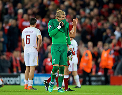 LIVERPOOL, ENGLAND - Tuesday, April 24, 2018: Liverpool's goalkeeper Loris Karius after the 5-2 victory over AS Roma during the UEFA Champions League Semi-Final 1st Leg match between Liverpool FC and AS Roma at Anfield. (Pic by David Rawcliffe/Propaganda)