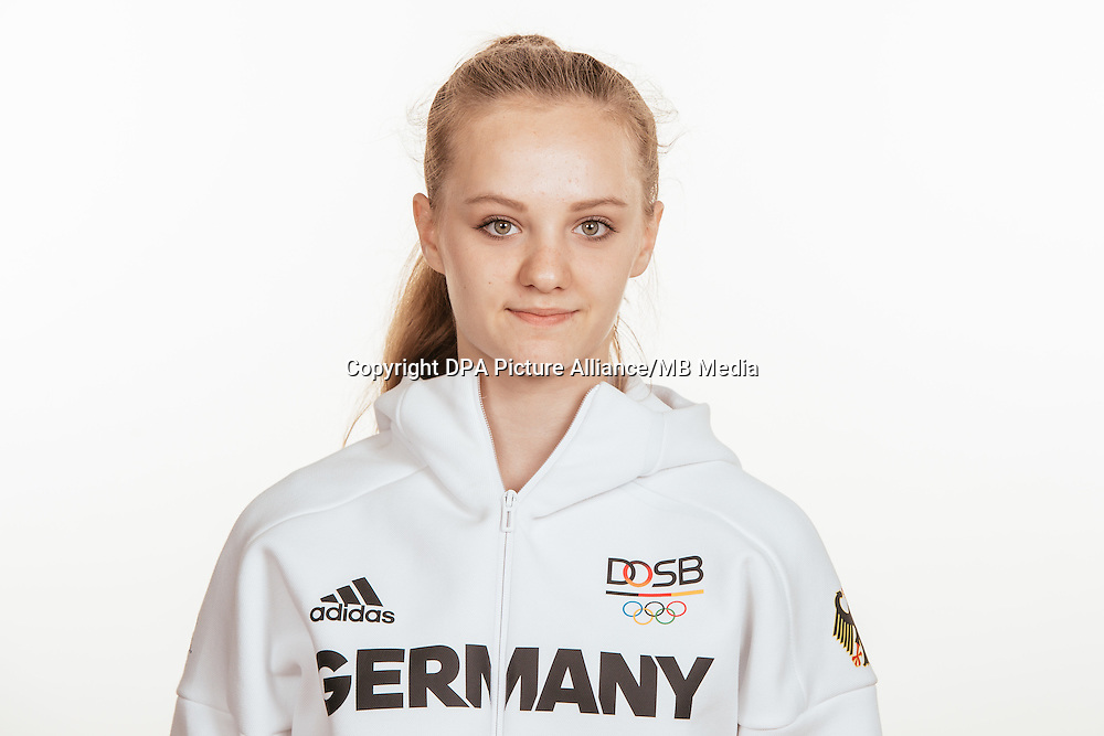 Natalie Herrmann poses at a photocall during the preparations for the Olympic Games in Rio at the Emmich Cambrai Barracks in Hanover, Germany, taken on 15/07/16 | usage worldwide