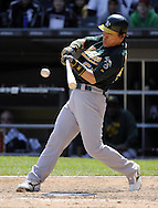 CHICAGO - JUNE 12:  Hideki Matsui #55 of the Oakland Athletics bats against the Chicago White Sox on June 12, 2011 at U.S. Cellular Field in Chicago, Illinois.  The White Sox defeated the Athletics 5-4.  (Photo by Ron Vesely)   Subject:  Hideki Matsui