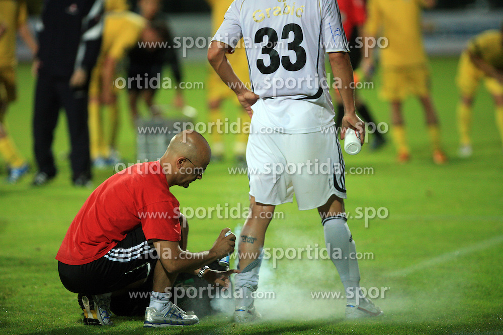 Physiotherapist Domagoj Sutalo healing Dejan Grabic (33) of Interblock at Slovenian Supercup between NK Domzale and NK Interblock, on July 9, 2008, in Domzale. Interblock won the mach and Supercup 7:6 after penalty shots.. (Photo by Vid Ponikvar / Sportal Images)