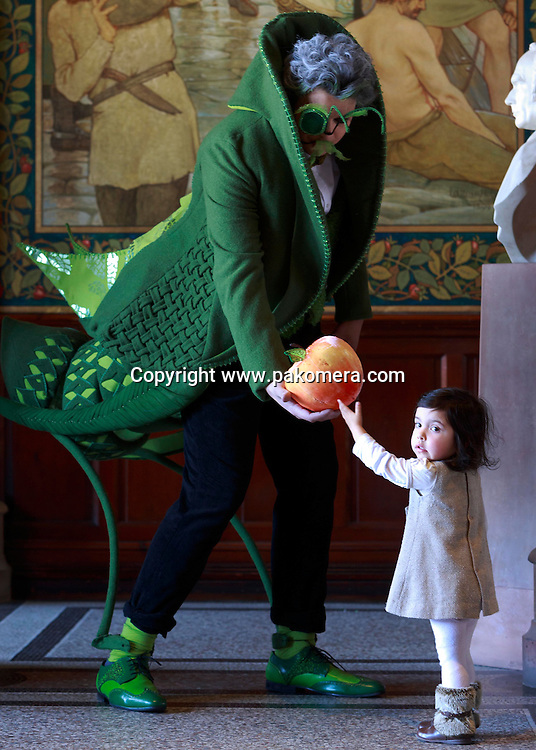 Fraser Graham with a costume designed by Laura Mild-Whittaker with Keira Keicher-Alanis 2 years old.<br /> Designed by performance costume students for Edinburgh College of Art&rsquo;s SHOW 2015, which will take place from 23-25 April. Pako Mera 04/04/2015