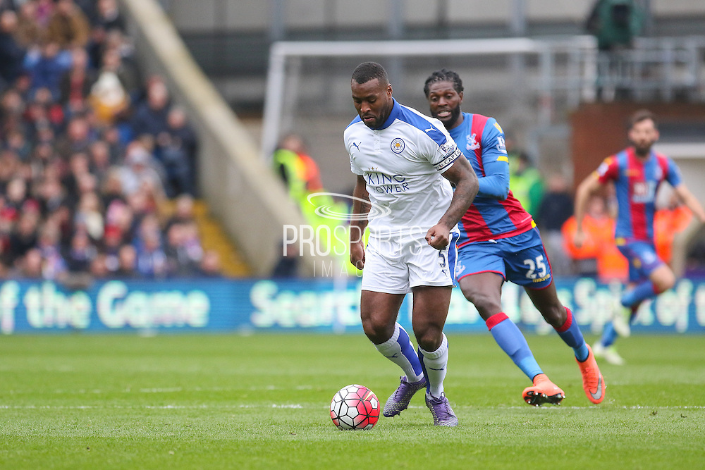 Leicester City defender Wes Morgan (5) during the Barclays Premier League match between Crystal Palace and Leicester City at Selhurst Park, London, England on 19 March 2016. Photo by Phil Duncan.