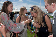 AMBER LEBON; ALICE CAMPBELL; TAMSON EGERTON,, Cartier International Polo. Smiths Lawn. Windsor. 24 July 2011. <br /> <br />  , -DO NOT ARCHIVE-© Copyright Photograph by Dafydd Jones. 248 Clapham Rd. London SW9 0PZ. Tel 0207 820 0771. www.dafjones.com.