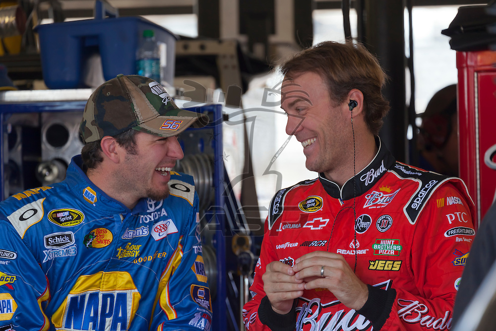 DARLINGTON, SC - MAY 11, 2012:  Martin Truex, Jr. (56) and Kevin Harvick (29) share a laugh during a practice session for the Bojangles Southern 500 at the Darlington Raceway in Darlington, SC.