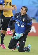 Gianluigi Buffon of Italy during training at Arena das Dunas, Natal<br /> Picture by Stefano Gnech/Focus Images Ltd +39 333 1641678<br /> 23/06/2014