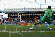 Wolverhampton Wanderers striker Benik Afobe scores from the spot during the Sky Bet Championship match between Sheffield Wednesday and Wolverhampton Wanderers at Hillsborough, Sheffield, England on 20 December 2015. Photo by Simon Davies.