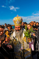 An Orthodox Christian procession at the port, Jaffa (Tel Aviv), Israel.