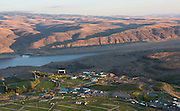 Aerial view over Columbia Gorge ampitheater, Quincy, Washington