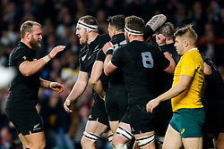 New Zealand Lock Brodie Retallick celebrates with teammates after Inside Centre Ma'a Nonu scores a try to make it 21-3 - Mandatory byline: Rogan Thomson/JMP - 07966 386802 - 31/10/2015 - RUGBY UNION - Twickenham Stadium - London, England - New Zealand v Australia - Rugby World Cup 2015 FINAL.