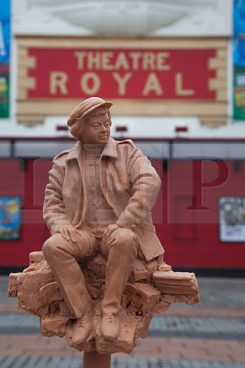 © Licensed to London News Pictures. 21/11/2013. London, England. Proposed sculpture by Philip Jackson. Barbara Windsor has joined Theatre Royal Stratford East's fundraising campaign to build a sculpture for the legendary director Joan Littlewood which whom she worked during the early stages of her career. The theatre launches a public appeal to raise the final 40% needed (c. £60,000) to commission Philip Jackson to created the bronze sculpture which is due to be installed in Theatre Square, Stratford in spring 2014. Photo credit: Bettina Strenske/LNP
