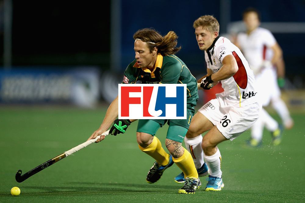 JOHANNESBURG, SOUTH AFRICA - JULY 17: Jonathan Robinson of South Africa and Victor Wegnez of Belgium battle for possession during the Group B match between South Africa and Belgium on day five of the FIH Hockey World League - Men's Semi Finals on July 17, 2017 in Johannesburg, South Africa.  (Photo by Jan Kruger/Getty Images for FIH)