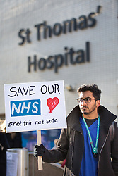 © Licensed to London News Pictures. 26/04/2016. London, UK. Doctors host an 'all-out' strike to demonstrate against proposed contracts by the government. It is the first all-out doctors' strike in the history of the NHS, and will last for 48 hours from 8am BST. Photo credit : Tom Nicholson/LNP