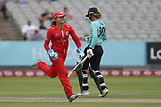 Lancashire Thunders Ellie Threlkeld (Wicket Keeper) celebrates a wicket during the Women's Cricket Super League match between Lancashire Thunder and Surrey Stars at the Emirates, Old Trafford, Manchester, United Kingdom on 7 August 2018.