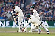 Ben Stokes of England gets an edge which evades the slip fielder during the International Test Match 2019, fourth test, day three match between England and Australia at Old Trafford, Manchester, England on 6 September 2019.