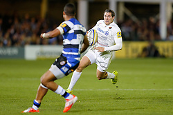 Saracens Full Back Alex Goode runs at Bath replacement Anthony Watson - Photo mandatory by-line: Rogan Thomson/JMP - 07966 386802 - 03/10/2014 - SPORT - RUGBY UNION - Bath, England - The Recreation Ground - Bath Rugby v Saracens - Aviva Premiership.